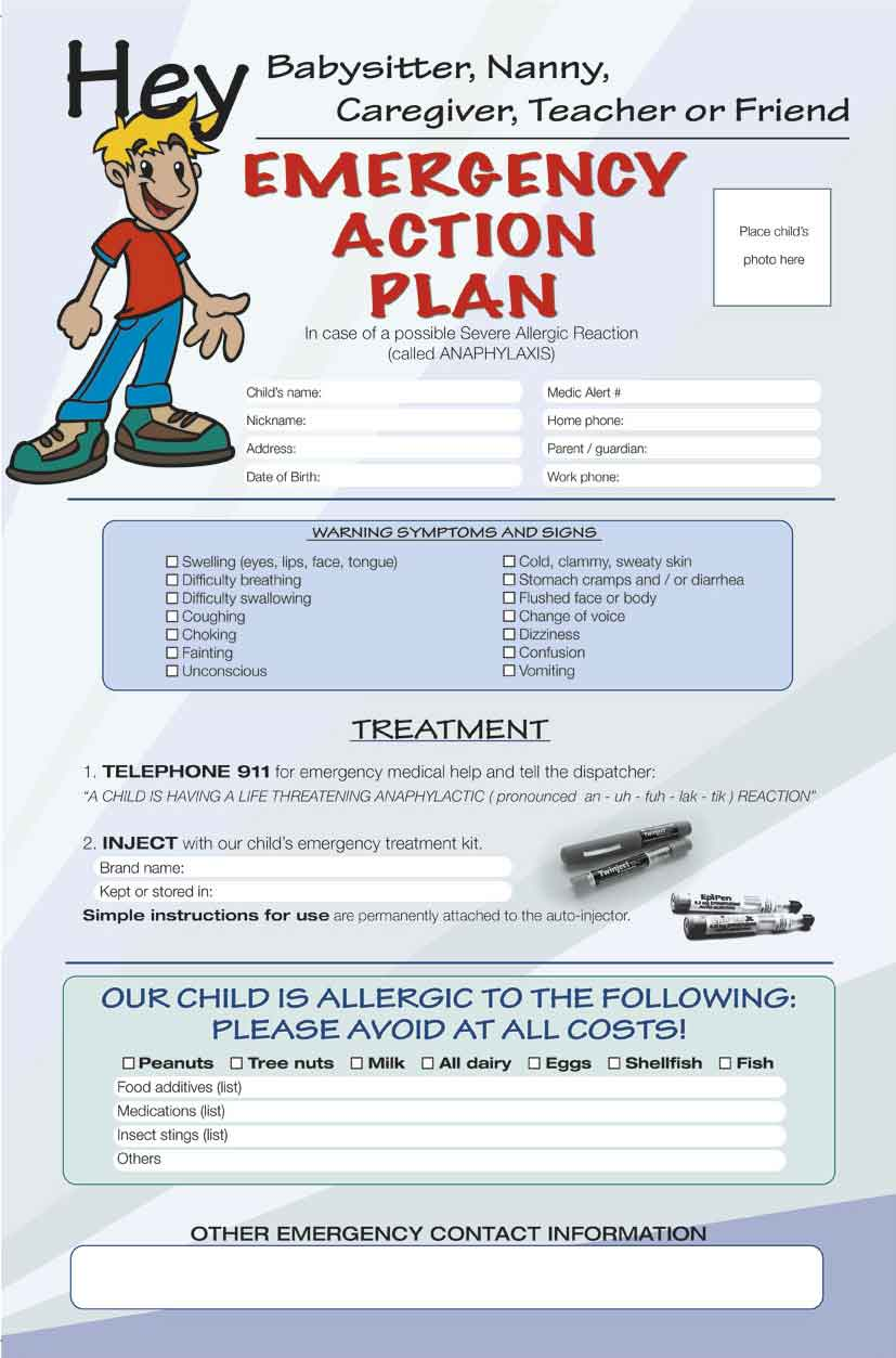 Allergy Emergency Action Plan Poster Mediscript Communications Inc – Emergency Action Plan